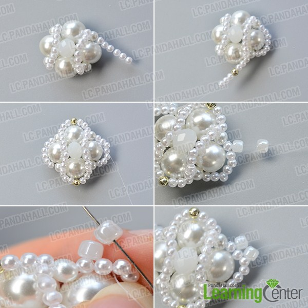 make the third part of the white pearl bead bracelet