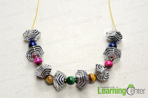 String the beads with thin chain strand