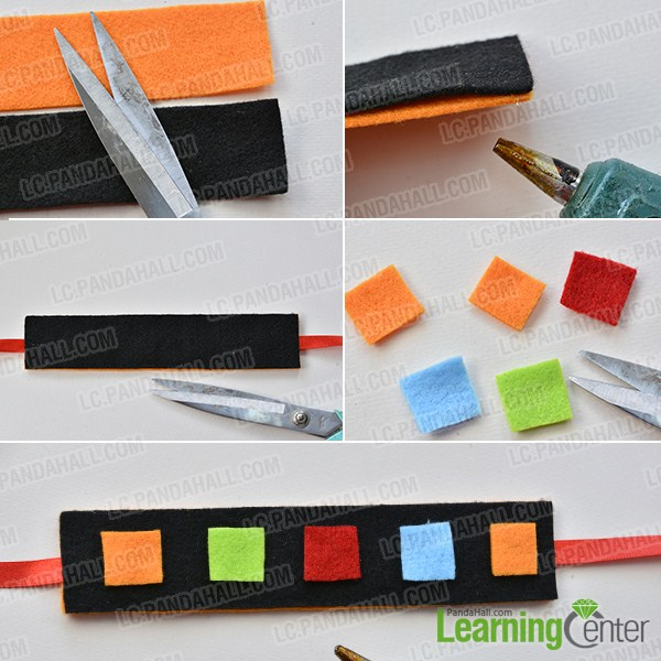 make the first part of the black wide felt and button bracelet for kids