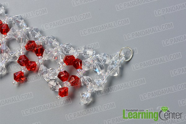 make the second part of the red and clear glass beaded necklace