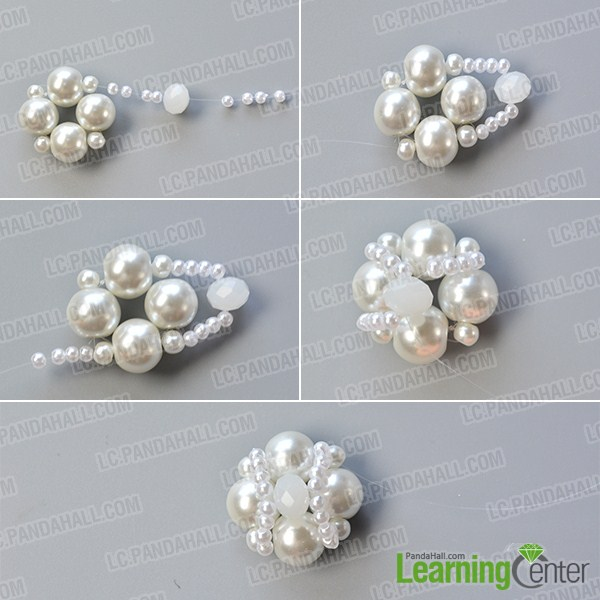 make the second part of the white pearl bead bracelet