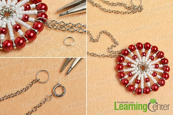 make the rest part of the red pearl and white seed bead pendant necklace