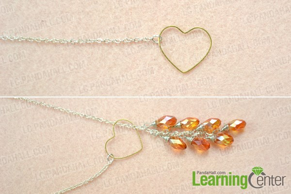 Finish the DIY heart lariat style necklace