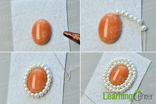 Make the main gemstone and pearl bead patterns