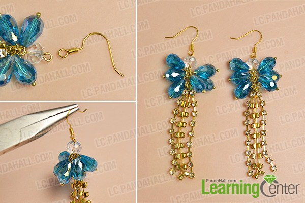 make the rest part of the blue glass bead and golden chain tassel drop earrings