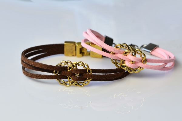 final looks of the pink and brown suede cord bracelets for lovers