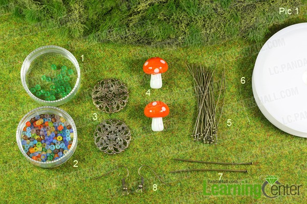 Materials for making mushroom earrings