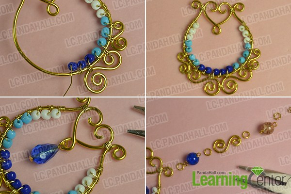 make the fourth part of the golden wire wrapped pendant necklace