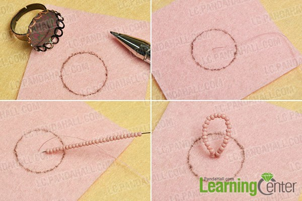 prepare the basic part of the flower seed beads ring