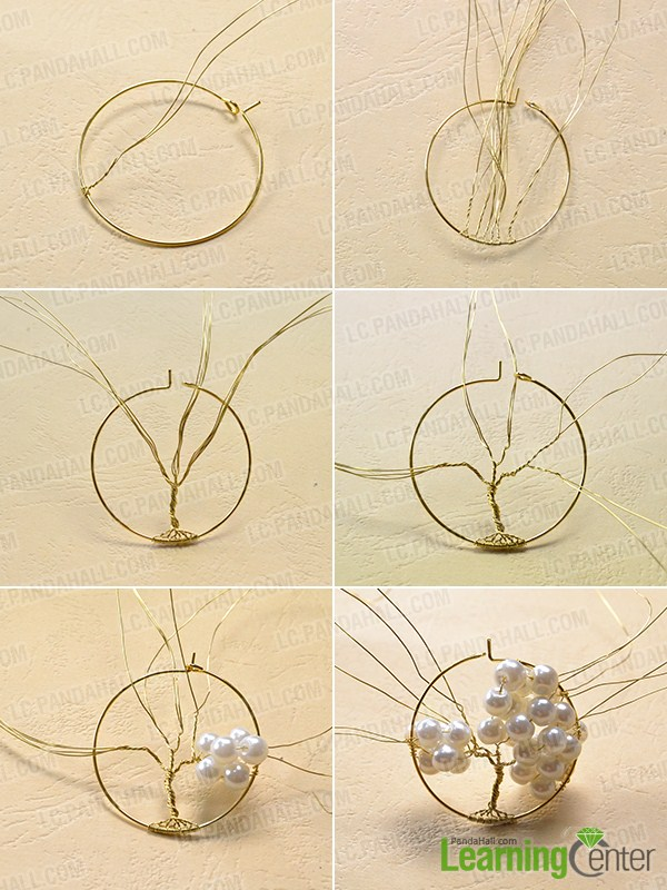 make the first part of the homemade pearl tree pendant necklace