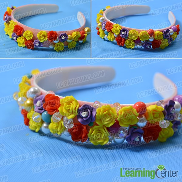 Finish the resin flower beaded headband
