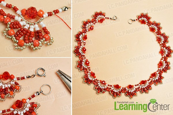 Complete the red seed bead choker necklace