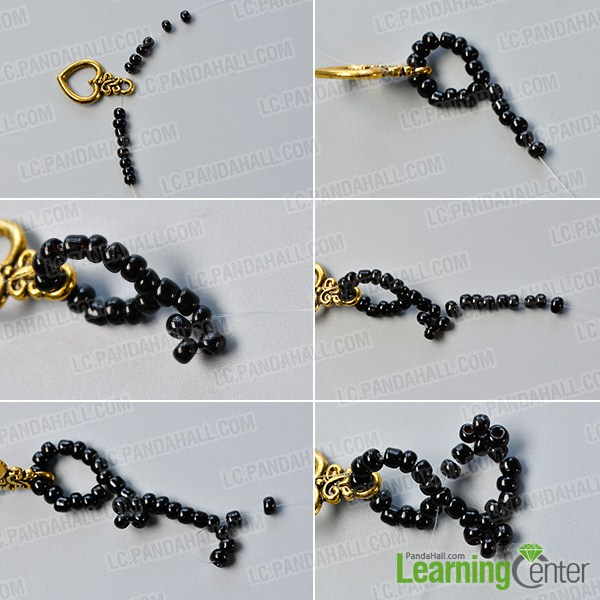 make the first part of the black seed bead bracelet