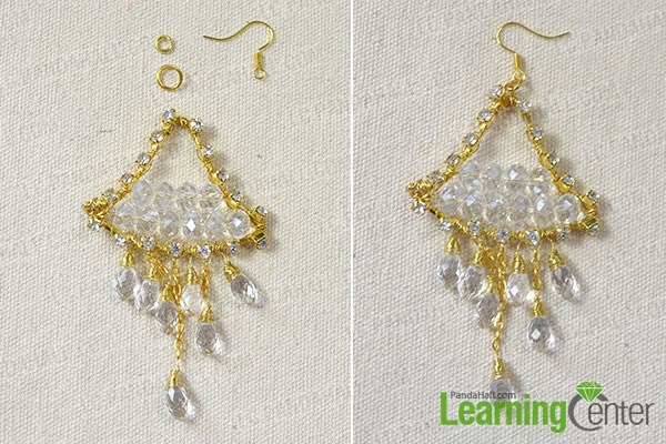 Finish the gold triangle hook earrings
