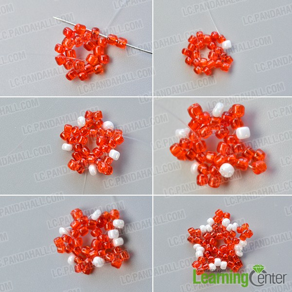 make the second part of the red seed beaded stitch starfish earrings
