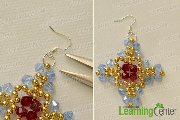 Finish the glass beaded cross earrings