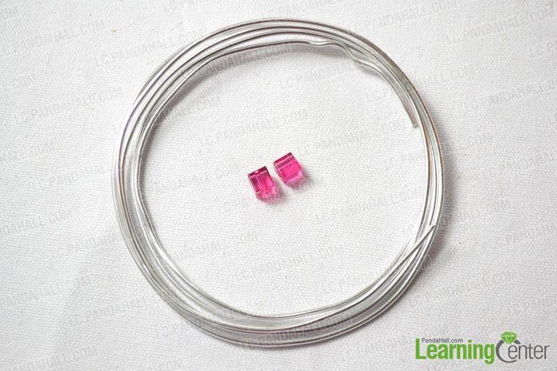 Prepare materials: aluminum wire and cube glass bead
