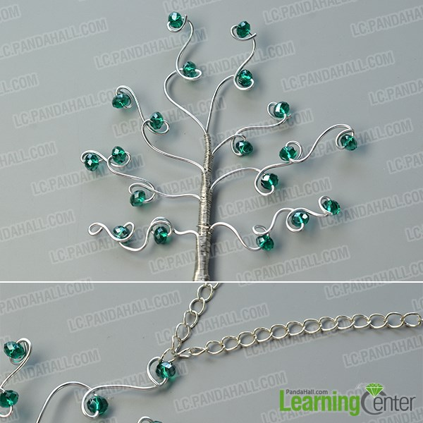 Finish the wire wrapped tree pendant hanging décor