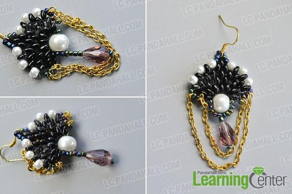 Finish the dangle beaded earrings