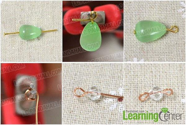 make beads findings of wire wrapped dangle earring