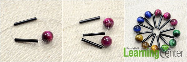 make loops with bugle beads and tiger eye beads