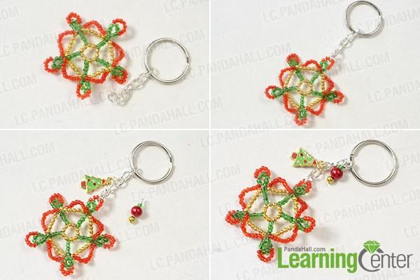 Finish the seed bead snowflake key chain