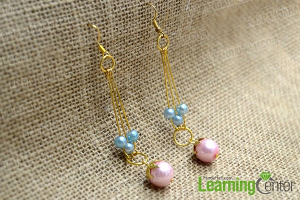 finished dangle earrings with pearl beads for bridesmaids