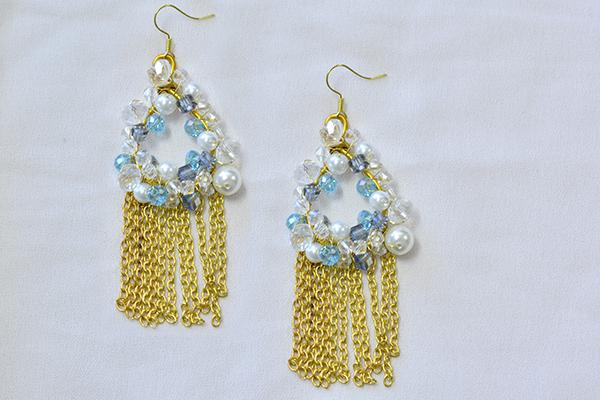 final look of the bead hoop and chain tassel earrings