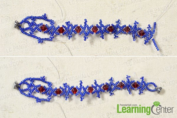 Finish the woven seed bead bracelet