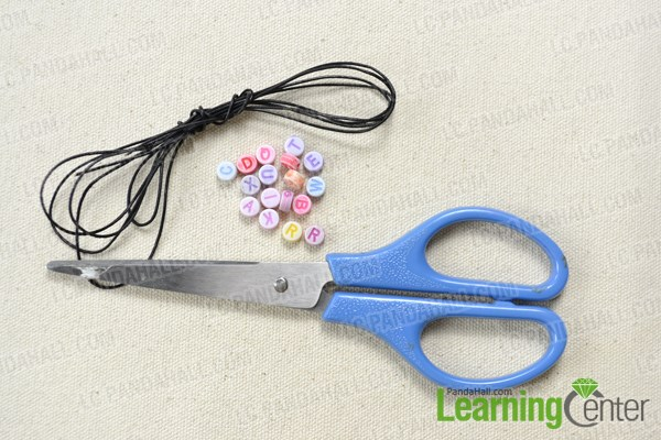 Materials needed in making a friendship bracelet with letters