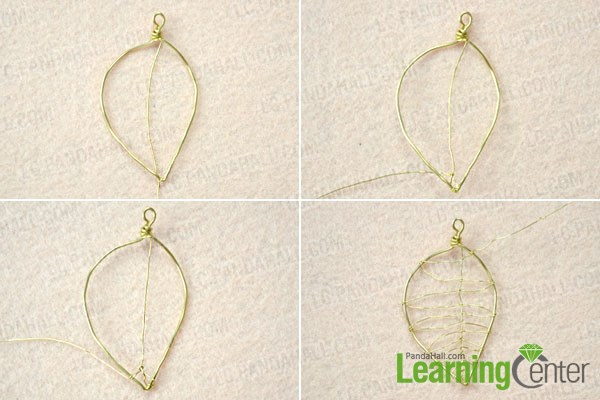 Wrap the leaf midrib for the wire leaf earrings