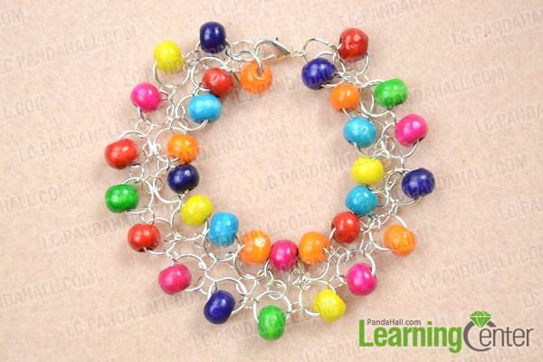 finished making wood bead bracelets