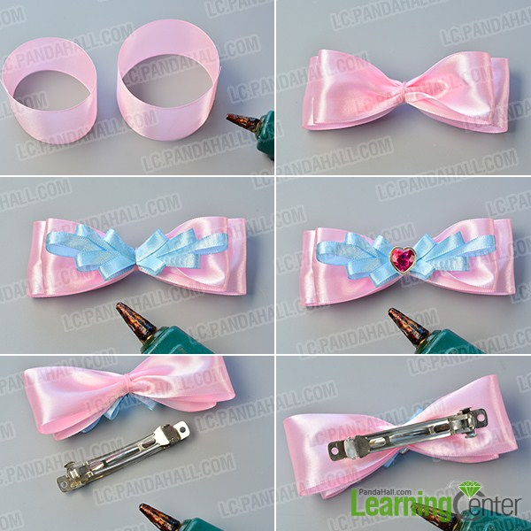 make the rest part of the pink and blue ribbon bow hair clip