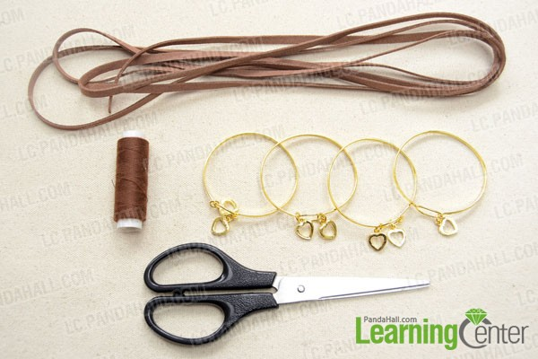 Supplies needed for making wide cuff bracelets with suede cord
