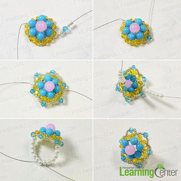 make the rest part of the handmade beaded flower ring