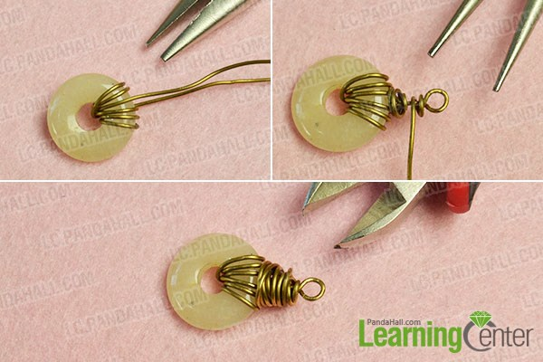 Make a wire wrapped dangle with donut pendant