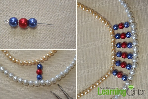 make the middle part of the two-strand pearl necklace