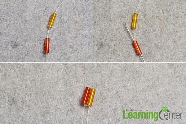 Make the beginning part of the bugle bead patterns