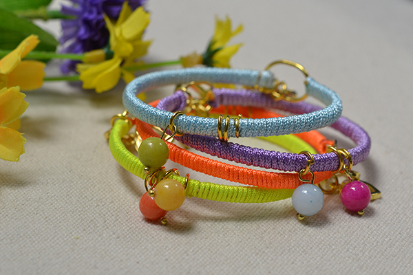 final look of the 4 color nylon cord friendship bracelet