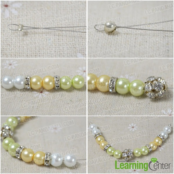 Step 1: Bead pearl and rhinestone beads