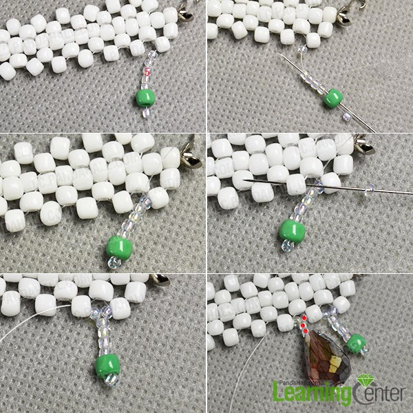 Start making the beaded tassels of the necklace