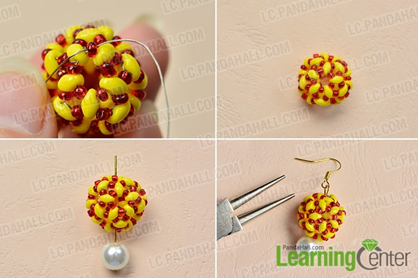 make the rest part of the yellow seed bead ball earring