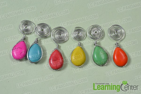 Wrap a turquoise bead dangles