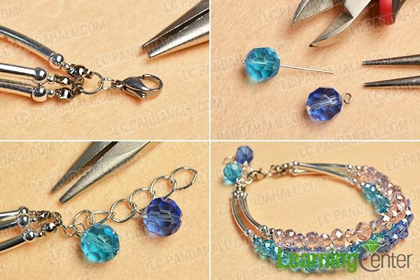 Finish the beaded three-strand bracelet
