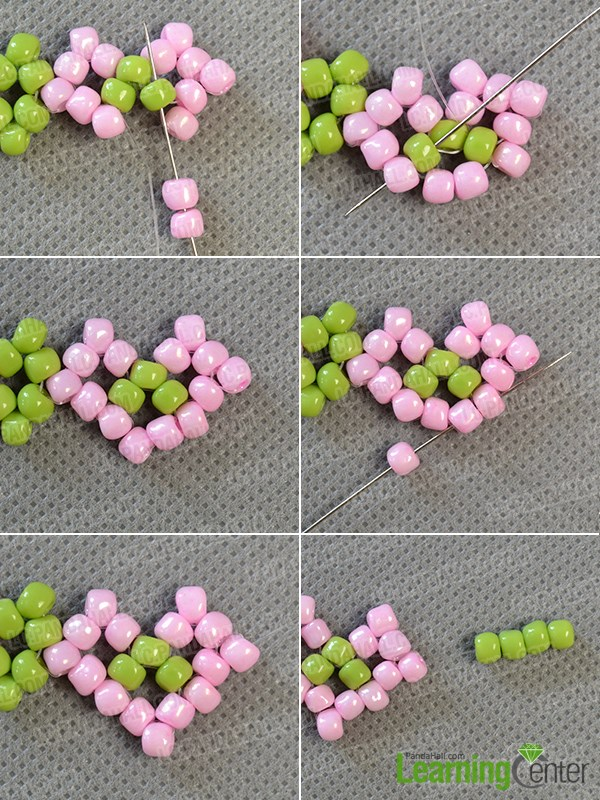 Finish one pink seed bead pattern