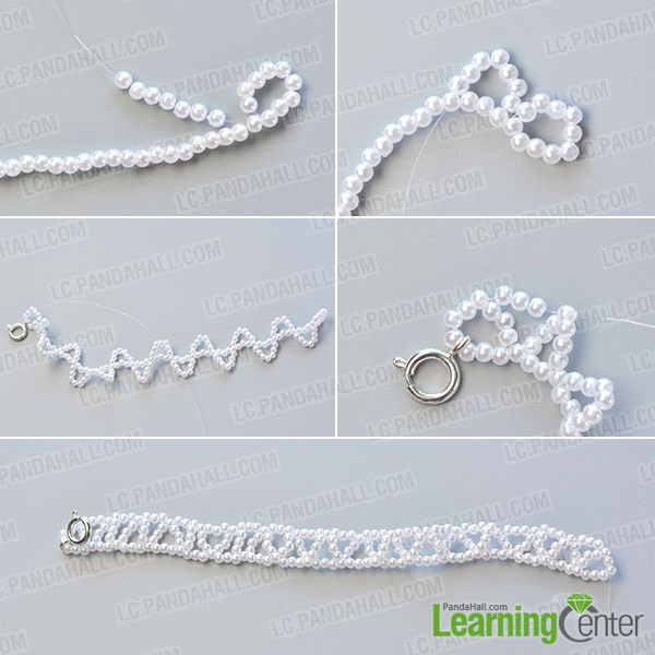 Make the second part of the chic pearl bracelet