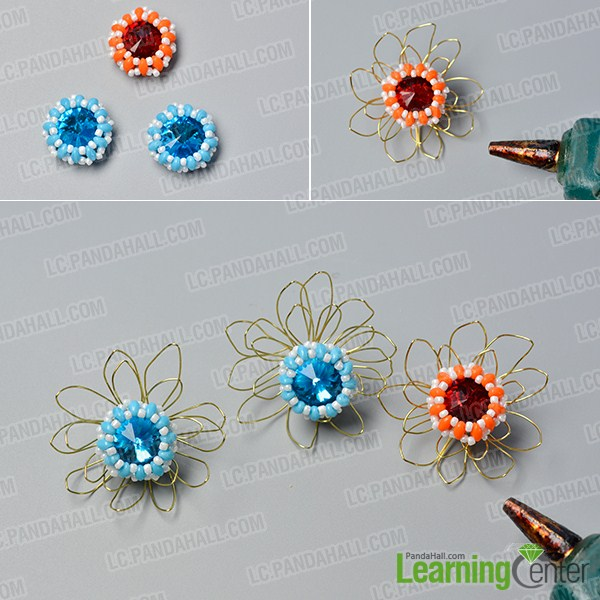 make the fourth part of the bead and wire flower chain necklace