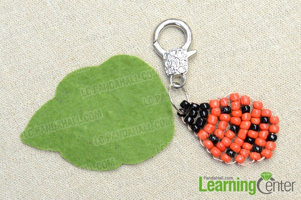 a cute beaded beetle keychain