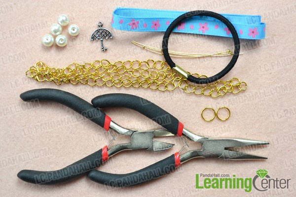 Materials needed on how to make a bow hair tie