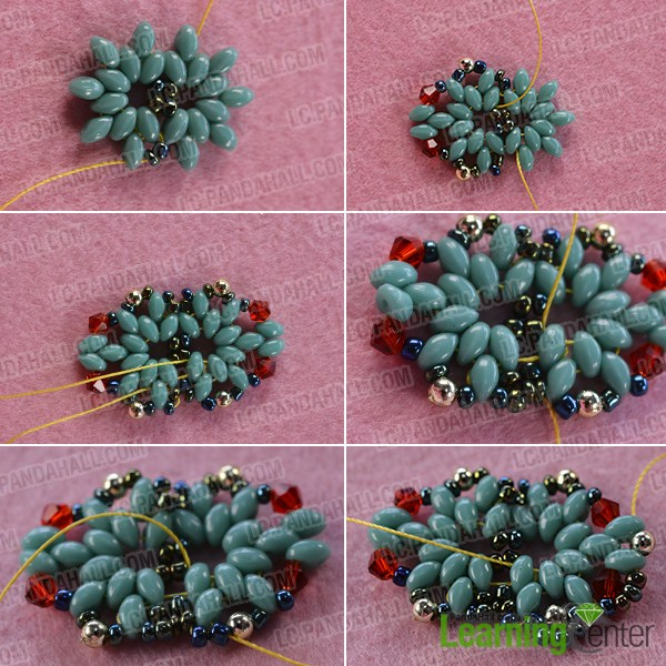 make the second part of the blue 2-hole seed bead ring
